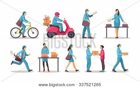 Post Office Workers Shipping Letters, Parcel Set.