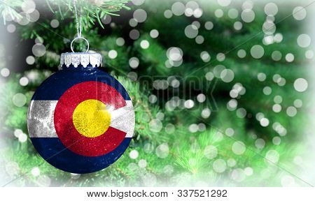 Christmas And New Year Background With A Flag State Of Colorado