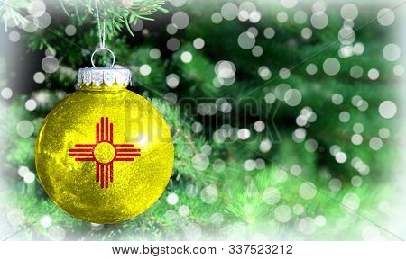 Christmas And New Year Background With A Flag State Of New Mexico