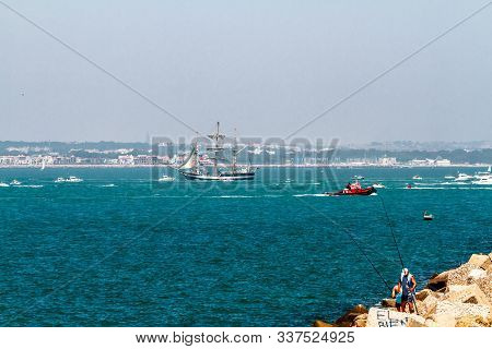 Cadiz, Spain - Jul 29: English  Ship, Pelican Of London Setting Sail On The Tall Ship Races 2012 On