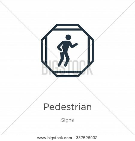 Pedestrian Icon Vector. Trendy Flat Pedestrian Icon From Signs Collection Isolated On White Backgrou