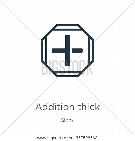 Addition Thick Icon Vector. Trendy Flat Addition Thick Icon From Signs Collection Isolated On White