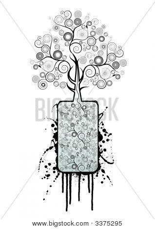Black Spirals Splatter Tree