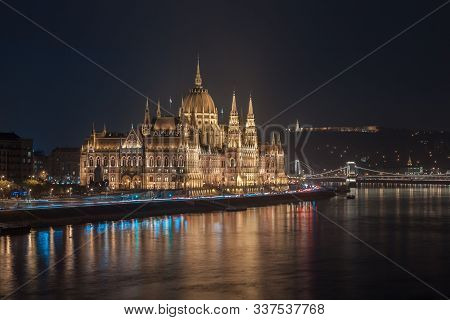 Incredible Evening View Of Budapest Parliament And Danube River At Sunset, Hungary. Wonderful Citysc
