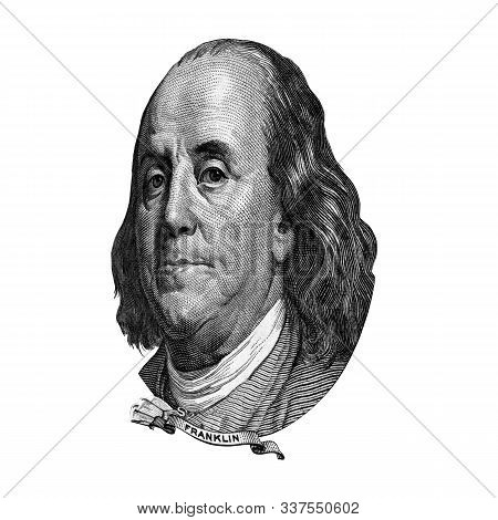 Portrait Of U.s. Statesman, Inventor, And Diplomat Benjamin Franklin As He Looks On One Hundred Doll