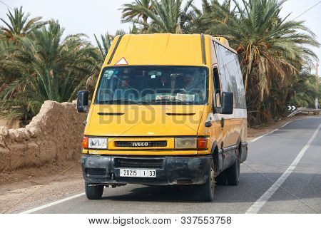 Erfoud, Morocco - September 27, 2019: School Bus Iveco Daily In The Town Street.