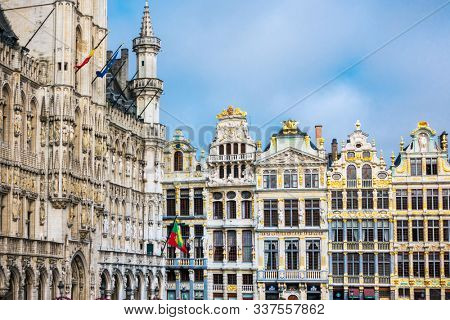 BRUSSELS, BELGIUM - August 27, 2017: Street view of old town in Brussels city, with a population of over 1.8 million, the largest in Belgium.