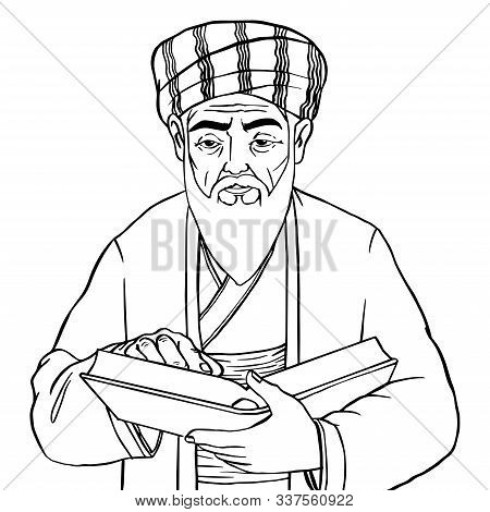 Muslim Philosopher Isolated On White Background, Old Man Hold Book, Sketch Doodle Style- Hand Drawn