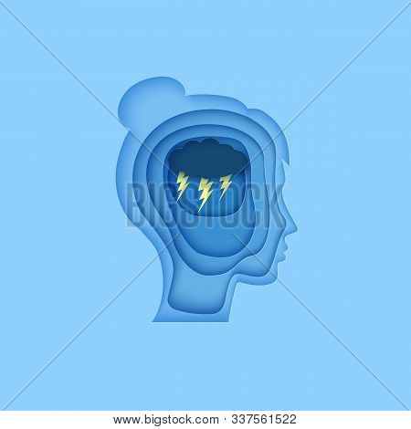 Woman Brain Silhouette Head With Cloud And Lightning In Paper Cut Style. . Wotld Mental Health Day 1
