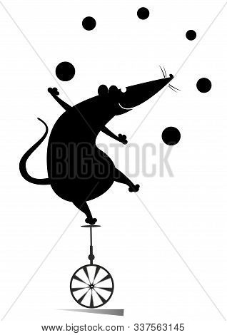 Equilibrist Rat Or Mouse Rides On The Unicycle And Juggles The Balls Illustration. Funny Rat Or Mous