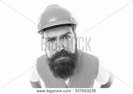 Picky Inspector. Safety Is Main Point. Man Protective Hard Hat And Uniform. Worker Builder Confident