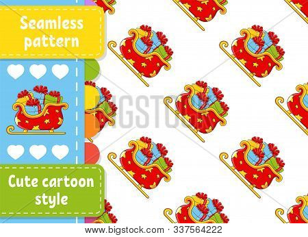 Colored Seamless Pattern. Christmas Sleigh Santa Claus With Gifts. Cartoon Style. New Year Theme. Ve