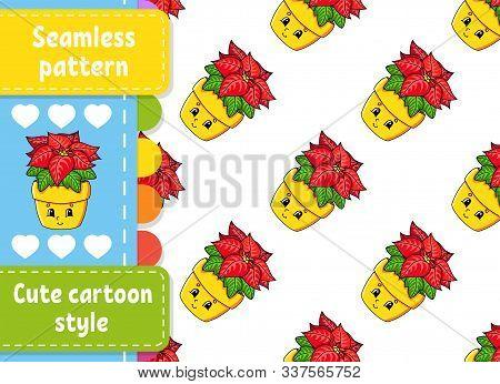 Poinsettia Flower In A Pot. Colored Seamless Pattern. Cartoon Style. Christmas Theme. Vector Illustr