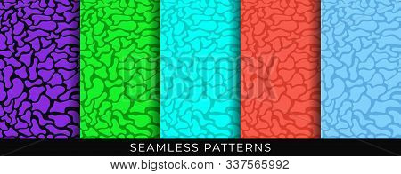 Set Of Seamless Patterns. Fluid Liquid Organic Shapes. Bright Design Abstract Seamless Geometric Pat