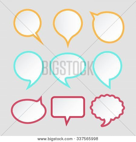Set Of Speech Bubbles. Colorful Paper Stickers Design For Text. Chat Icons. Vector Illustration