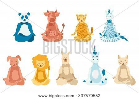 Cartoon Animals Performing Yoga Exercise. Drawing Panda, Cow, Jaguar, Zebra, Dog, Cat, Lion, Lama An