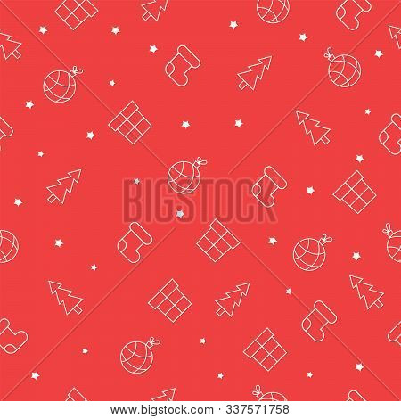 Seamless Christmas Pattern With Christmas Tree, Socks, Gitf Boxes, Stars And Tree Balls. Red Backgro