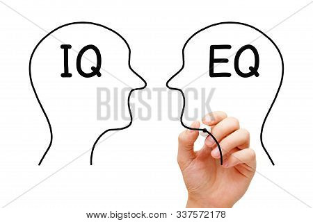 Hand Drawing Iq Intelligence Quotient Versus Eq Emotional Intelligence Quotient Concept With Marker