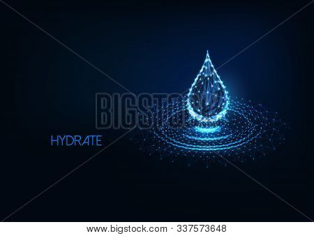Futuristic Glowing Low Polygonal Water Drop With Splash Ripples Isolated On Dark Blue Background