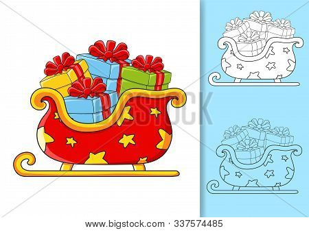 Christmas Sleigh Santa Claus With Gifts. Set Of Vector Illustrations Isolated On White And Colored B