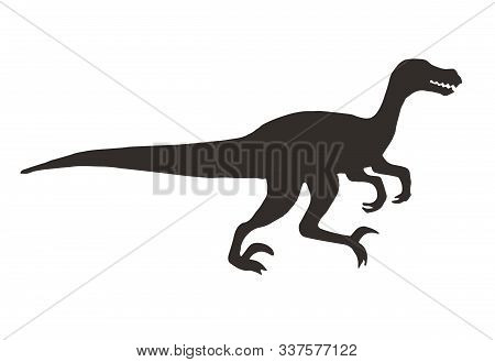 Vector Black Velociraptor Dinosaur Silhouette Isolated On White Background