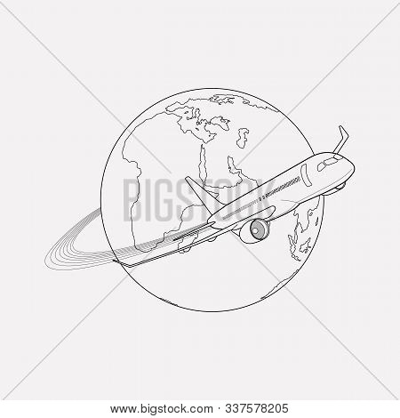 Plane Around The World Icon Line Element. Vector Illustration Of Plane Around The World Icon Line Is