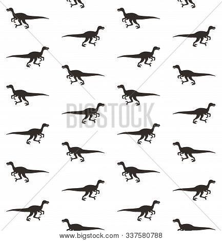 Vector Seamless Pattern Of Black Velociraptor Dinosaur Silhouette Isolated On White Background