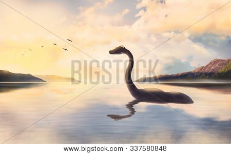 The Loch Ness Monster In The Water Looks At The Beautiful Birds Flying Against The Sunset.