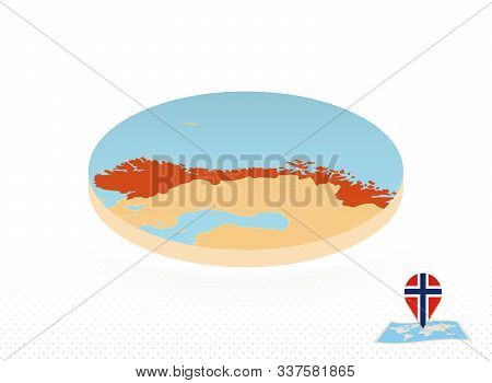 Norway Map Designed In Isometric Style, Orange Circle Map Of Norway For Web, Infographic And More.