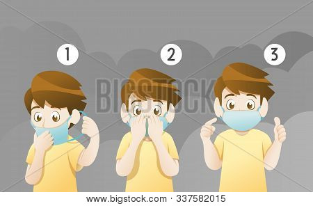 Protection Mask Instructions For Protect Dust. Wearing Mask For Protect Dust Pm2.5, Pm10, Smoke, Smo