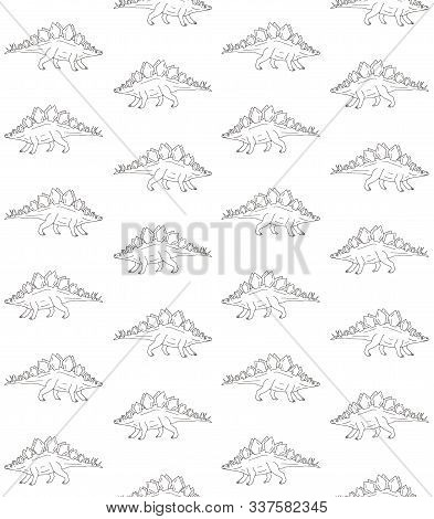 Vector Seamless Pattern Of Hand Drawn Doodle Sketch Stegosaurus Dinosaur Isolated On White Backgroun