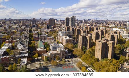 Aerial View Over The Far North On Manhattan Island In And Around Harlem Ny