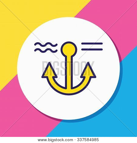 Vector Illustration Of Anchor Icon Colored Line. Beautiful Naval Element Also Can Be Used As Naval I