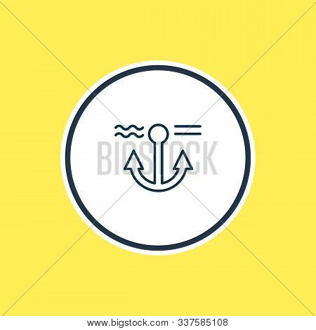 Vector Illustration Of Anchor Icon Line. Beautiful Marine Element Also Can Be Used As Naval Icon Ele