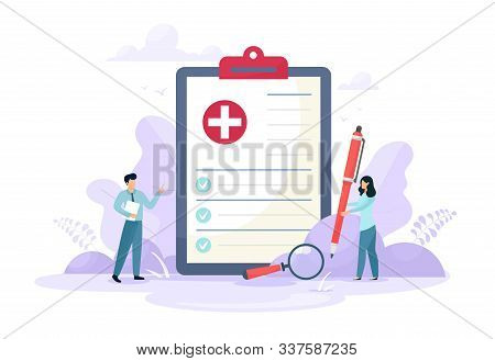 Medical Form, Medical Report. Characters.clipboard With A Cross, Pen And Check Marks. Informed Conse