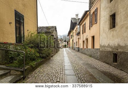 A Cobbled Street In Hone Town, Aosta Valley, Italy