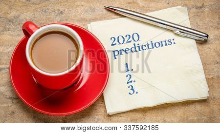 2020 predictions list - handwriting on a napkin with a cup of tea, business and financial trends, expectations and specul,ations for  the New Year