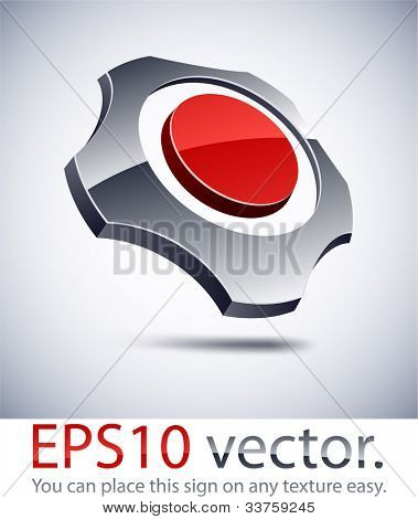 Vector illustration of 3D abstract gear business symbol.