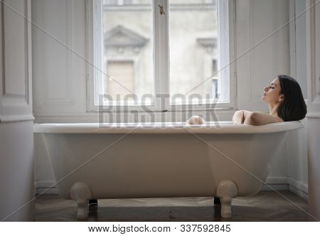 beautiful woman in a  bathtub