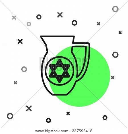Black Line Decanter With Star Of David Icon Isolated On White Background. Pottery Jug. Organic Produ