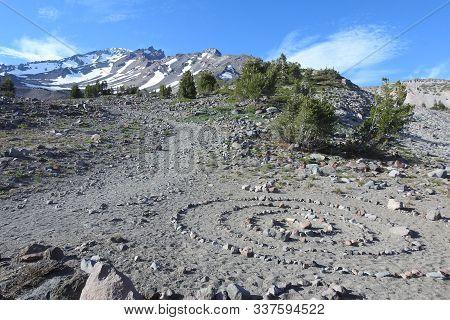 A Stone Spiral, Alongside The Old Ski Bowl Trail On Mount Shasta, Siskiyou County, Northern Califron