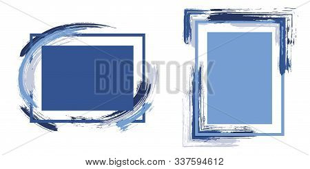 Stylish Frames With Paint Brush Strokes Vector Set. Box Borders With Painted Brushstrokes Background