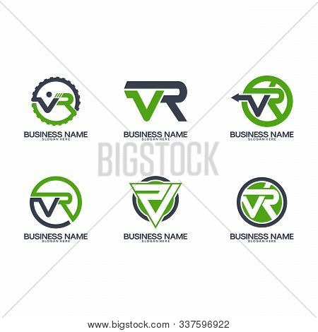 Set V R Logo Initial Designs Template Vector
