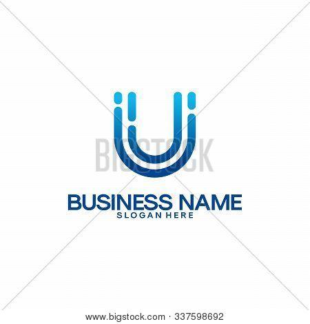 Simple U Initial Technology Logo Designs Template, Technology And Digital Initial Logo Designs Vecto