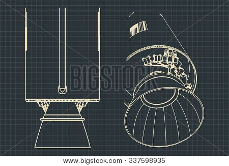 Stylized Vector Illustration Drawings Of Part Of The Launch Vehicle And Its Engines
