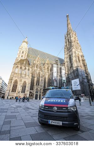 Vienna, Austria - November 6, 2019: Austrian Police Car From The Bundespolizei, Or Polizei, Patrolli
