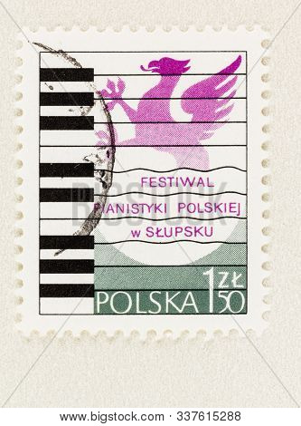 Seattle Washington - October 9, 2019: Polish Postage Stamp Commemorating Slupsk Piano Festival Of 19