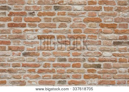 Old Brick Background At Beautiful Vintage Style. Brick Wall, Brickwork, Brown Texture Architecture.