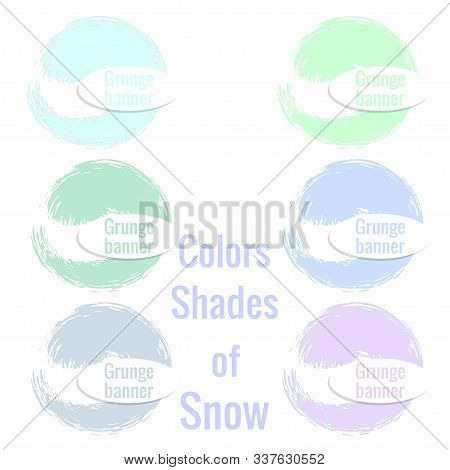 Set Of Round Banners Of Flowers Shades Of Snow. Grunge Brush In Shape Of Circle Of Variegated Shades