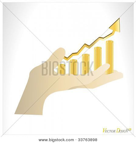 Coins in hand that show the growth your business. Vector illustration.